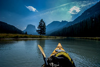 Paddling Green River Lakes below Squaretop in Wyoming
